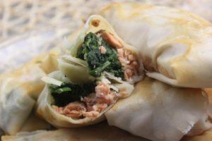 springrolls spinach salmon