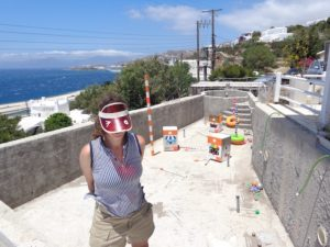 2. Resident artist Mariana Cute in front of SPF 50+ Poolside Installation