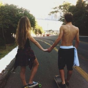 couples in love summer skate
