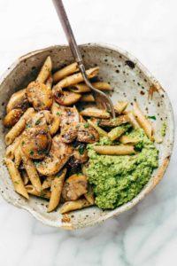 Simple-Mushroom-Penne-eaten-with-fork