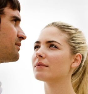 Young Woman Adoring Man