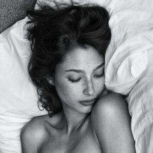 woman sleeping b+w